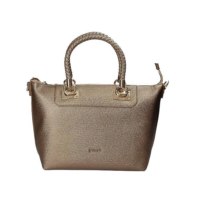 LIU JO ANNA SHOPPING BAG E W N67094E0087-W9863 Pale brown metal.   Amazon.it  Scarpe e borse b01654e54b4