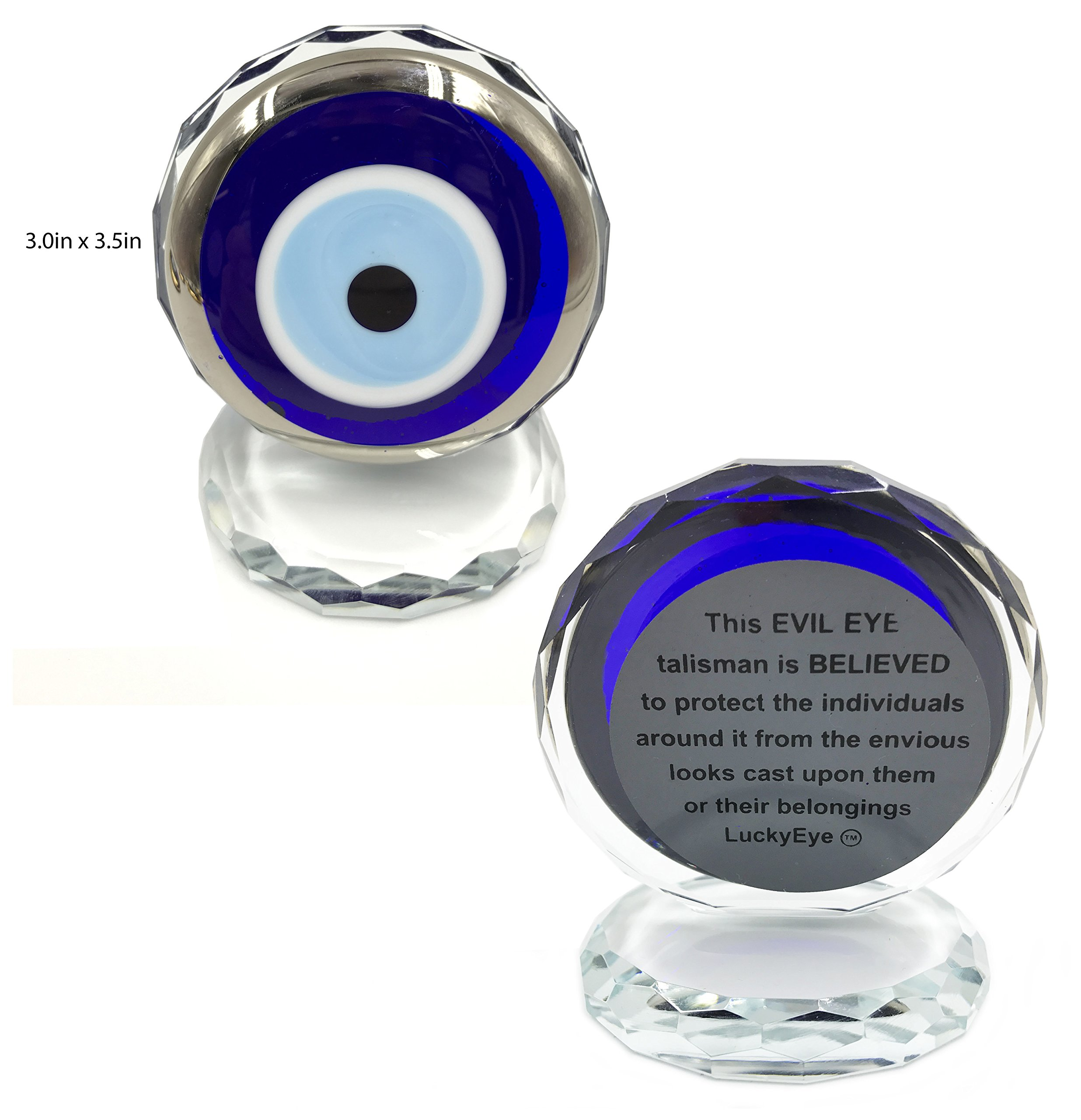 5410 Turkish Crystal Evil Eye Paperweight for Home Office or Gift (Silver)