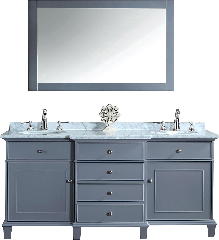 Stufurhome HD-7000G-72-CR Cadence Double Sink Bathroom Vanity With Mirror, 72 , Grey