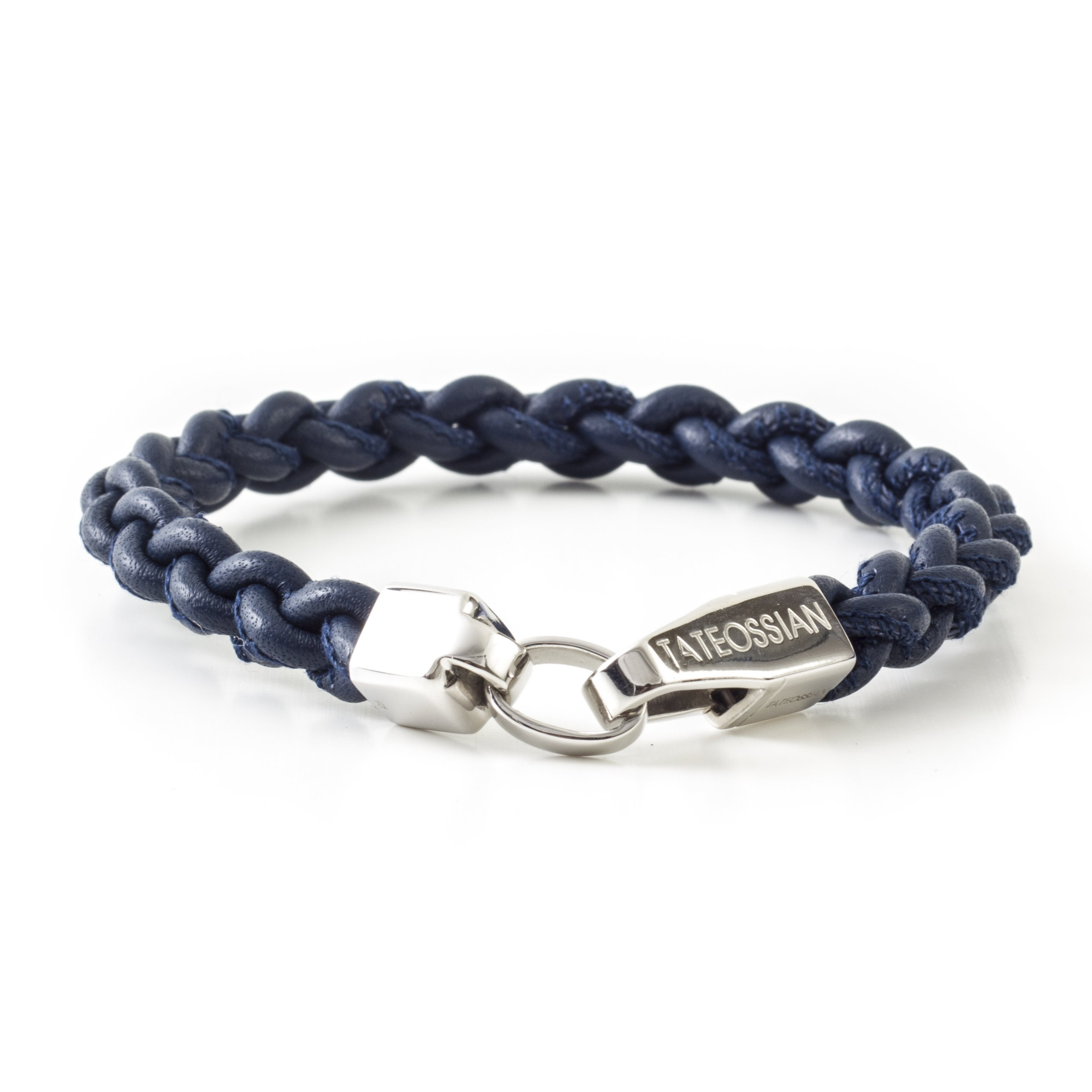 Tateossian Mens Italian Leather with Sterling Silver Closure Bracelet - Navy/Silver