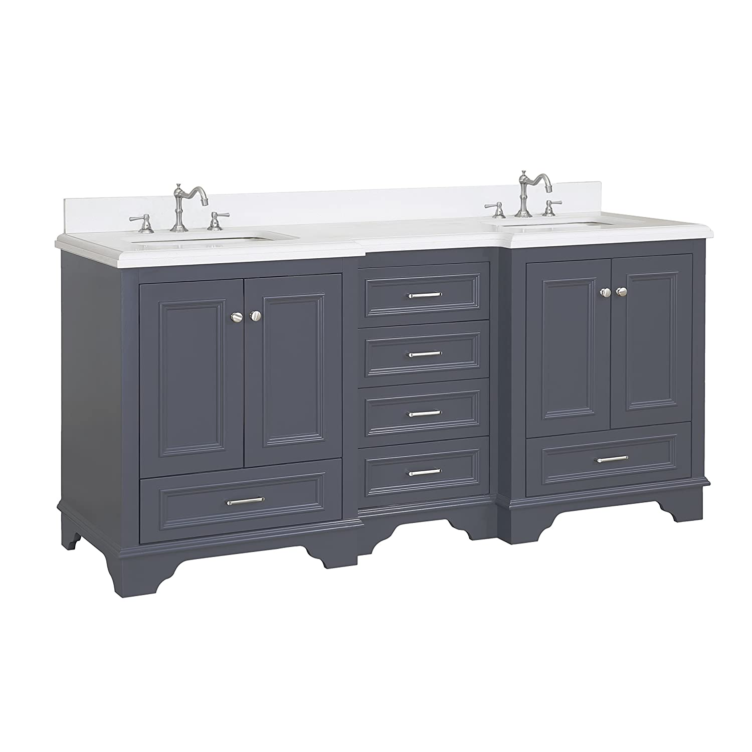 Nantucket 72-inch Bathroom Vanity (Quartz/Charcoal Gray): Includes Charcoal  Gray Cabinet with Soft Close Drawers, Quartz Countertop, and Two Ceramic ...