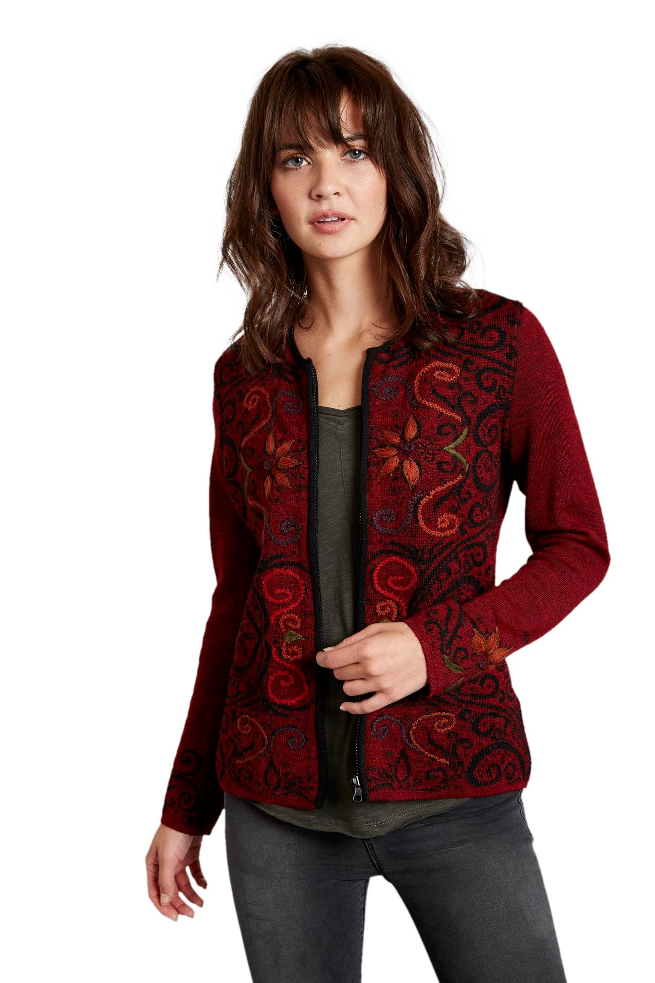 Invisible World Women's Baby Alpaca Reversible Cardigan Arabesque Scarlet Lg