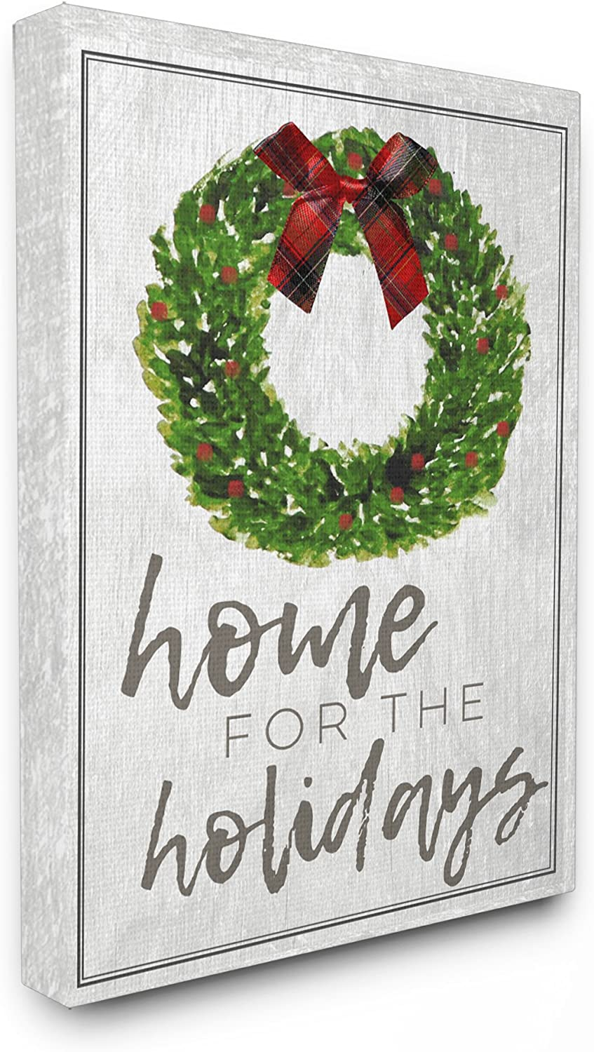 "The Stupell Home Décor Collection Home for the Holidays Wreath Bow Christmas Oversized Stretched Canvas Wall Art, 24"" x 30"""