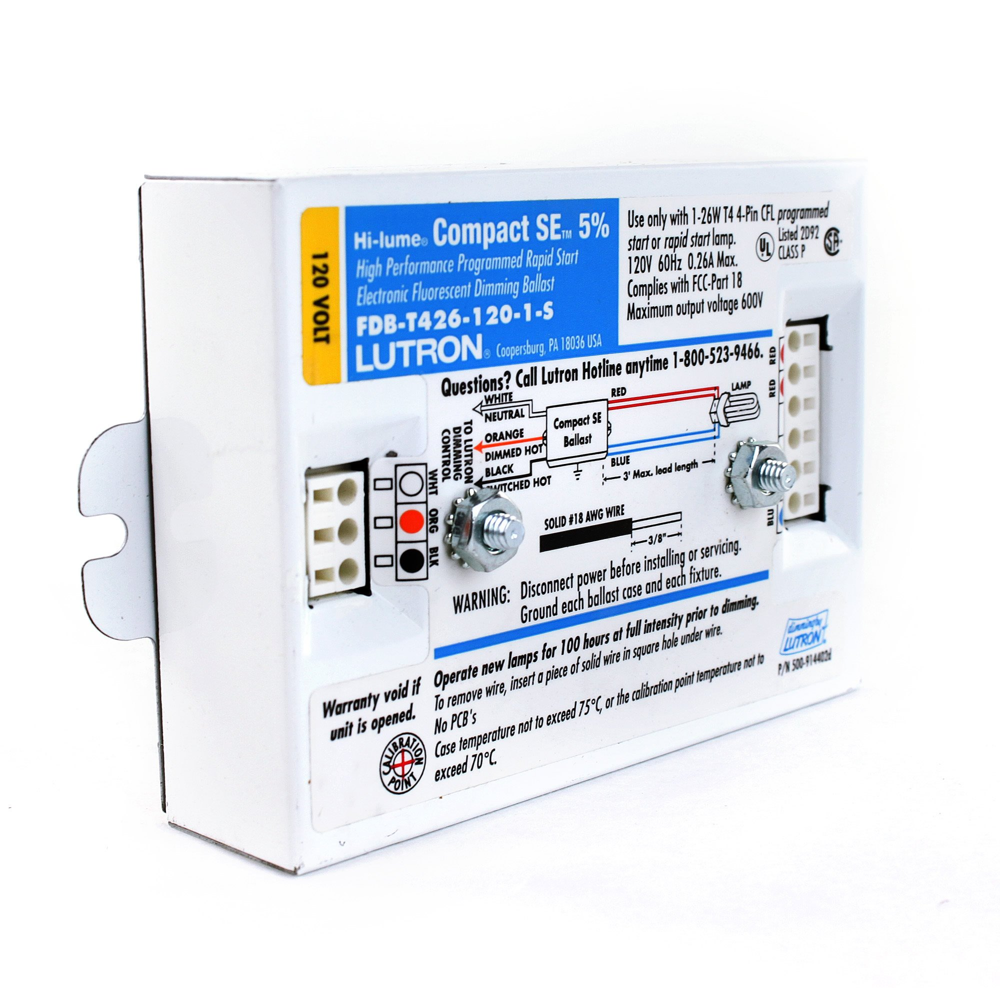 Lutron FDB-T426-120-1-S Hi-Lume Dimming Ballast, CFL Triple Tube, 1 Lamp, Fluorescent Compact Dimming Ballast by Lutron (Image #2)