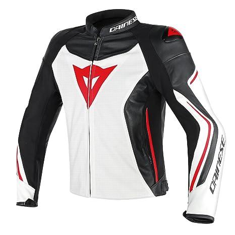 952622ff25de Dainese-ASSEN PERF. Giacca da moto di pelle, Bianco/Nero/Rosso-Lava ...
