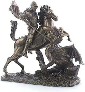 11.38 Inch Saint George The Dragon Slayer Cold Cast Bronze Figurine