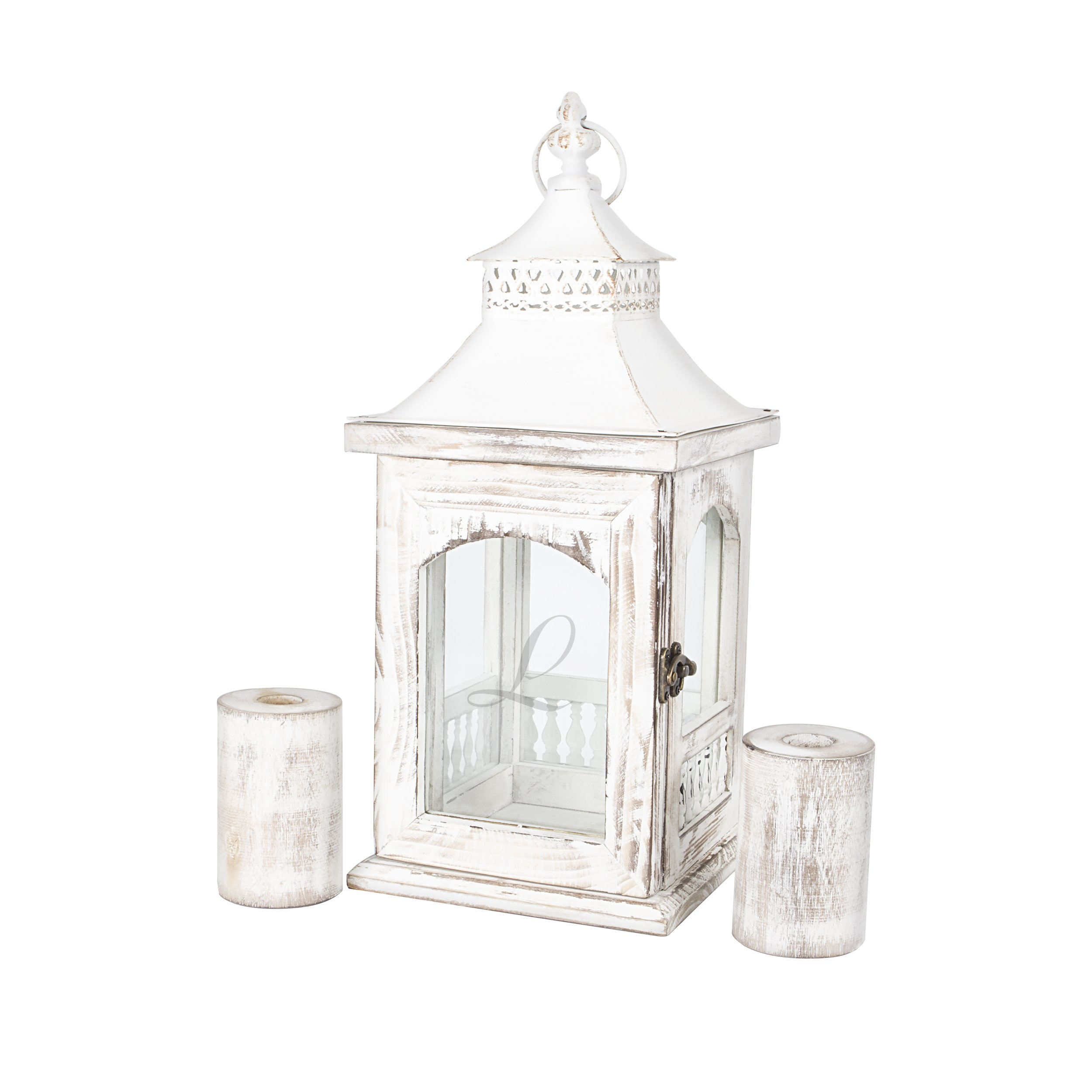 Cathy's Concepts Personalized Rustic Unity Lantern with Candle Holder, Letter L