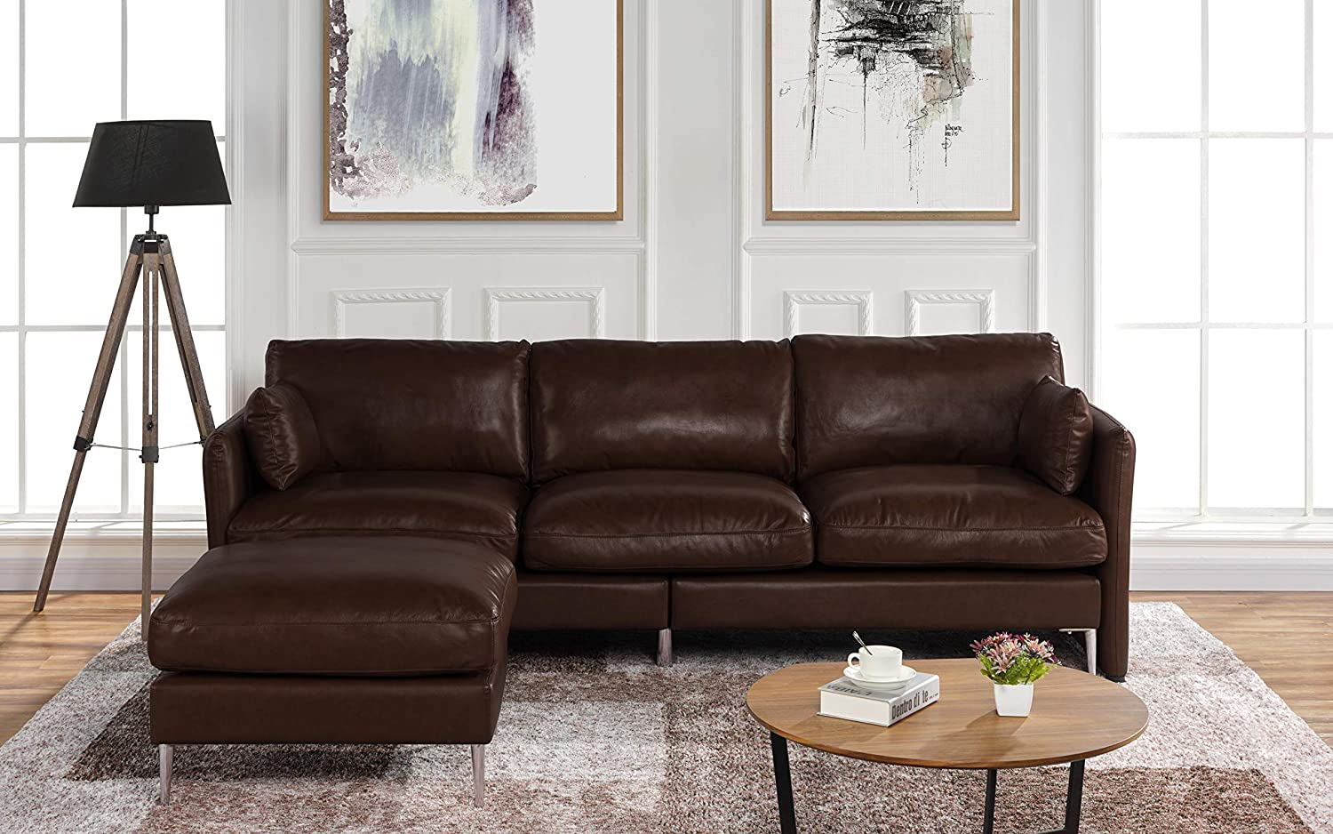 Amazon.com: Modern Leather Sectional Sofa, L Shape Couch ...