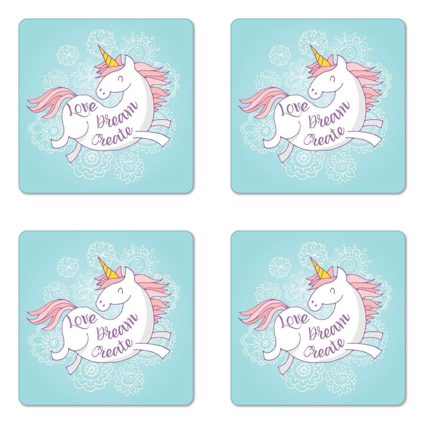 Lunarable Unicorn Coaster Set of Four, Cute Fantastic Animal with Horn on Doodle Style Floral Background Pastel Colors, Square Hardboard Gloss Coasters for Drinks, Multicolor