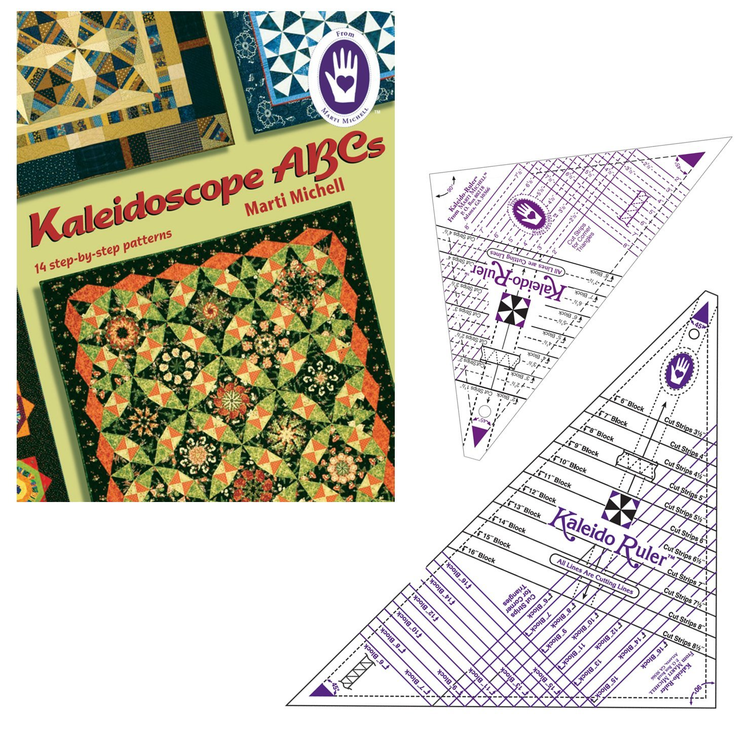 Marti Michell Kaleidoscope Rulers and Kaleidoscope ABCs Quilting Book Bundle, 3 Items by Marti Michell