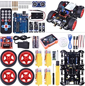 Kuman Smart Robot Car Kit Compatible with Arduino project with Line Tracking Module, Ultrasonic Sensor, Servo Motor, LED, Buzzer Horn, Tutorials