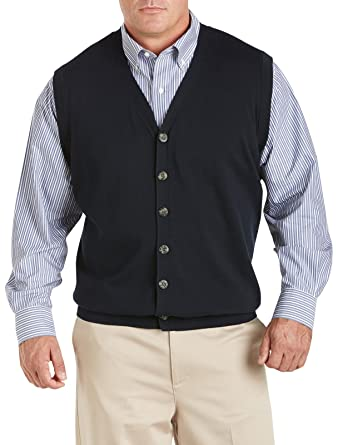 Oak Hill by DXL Big and Tall Button-Front Sweater Vest at Amazon ...