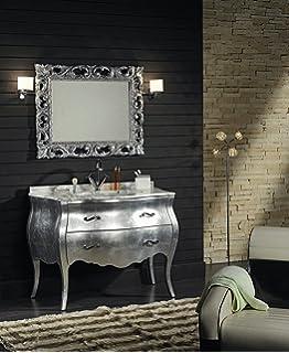 mobile bagno bombato foglia argento barocco moderno: Amazon.it: Casa ...