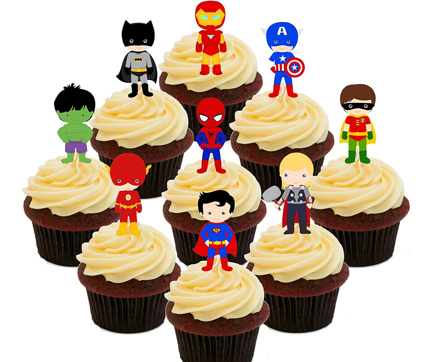 Superhero Party Pack - Edible Cupcake Toppers - Stand-up Wafer Cake ...