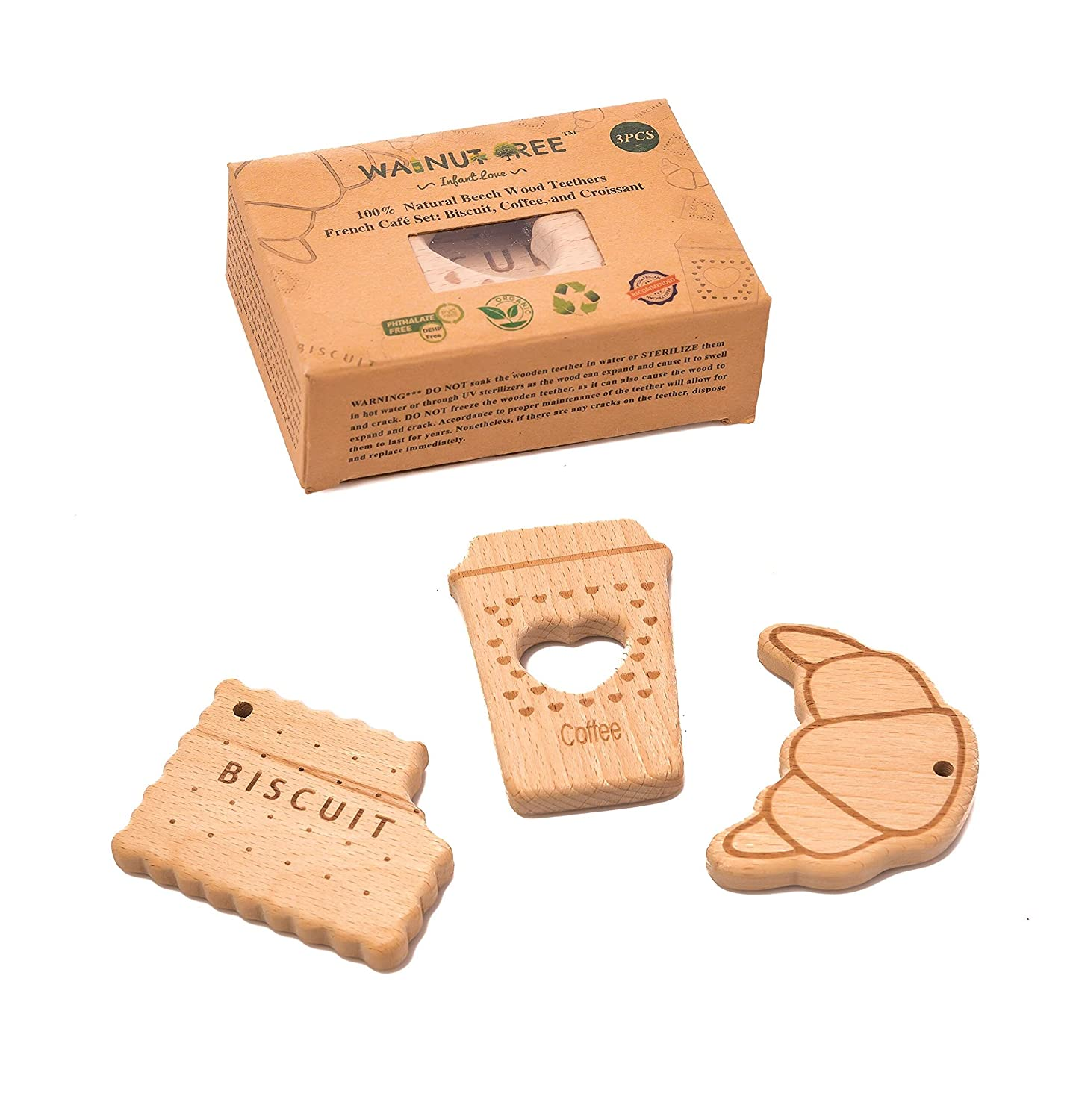 Perfect 100/% BPA Walnut Tree Infant Love Organic Natural Beech Wood Handcrafted Teether| Caf/é Set 3 PCS|: 100/% Natural Soothing Beechwood Rattle Toys PVC and Phthalate Free. Lead