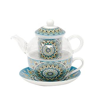 Glaskanne mit Porzellantasse Porzellanfilter Motiv Tribal von DUO Tea for one