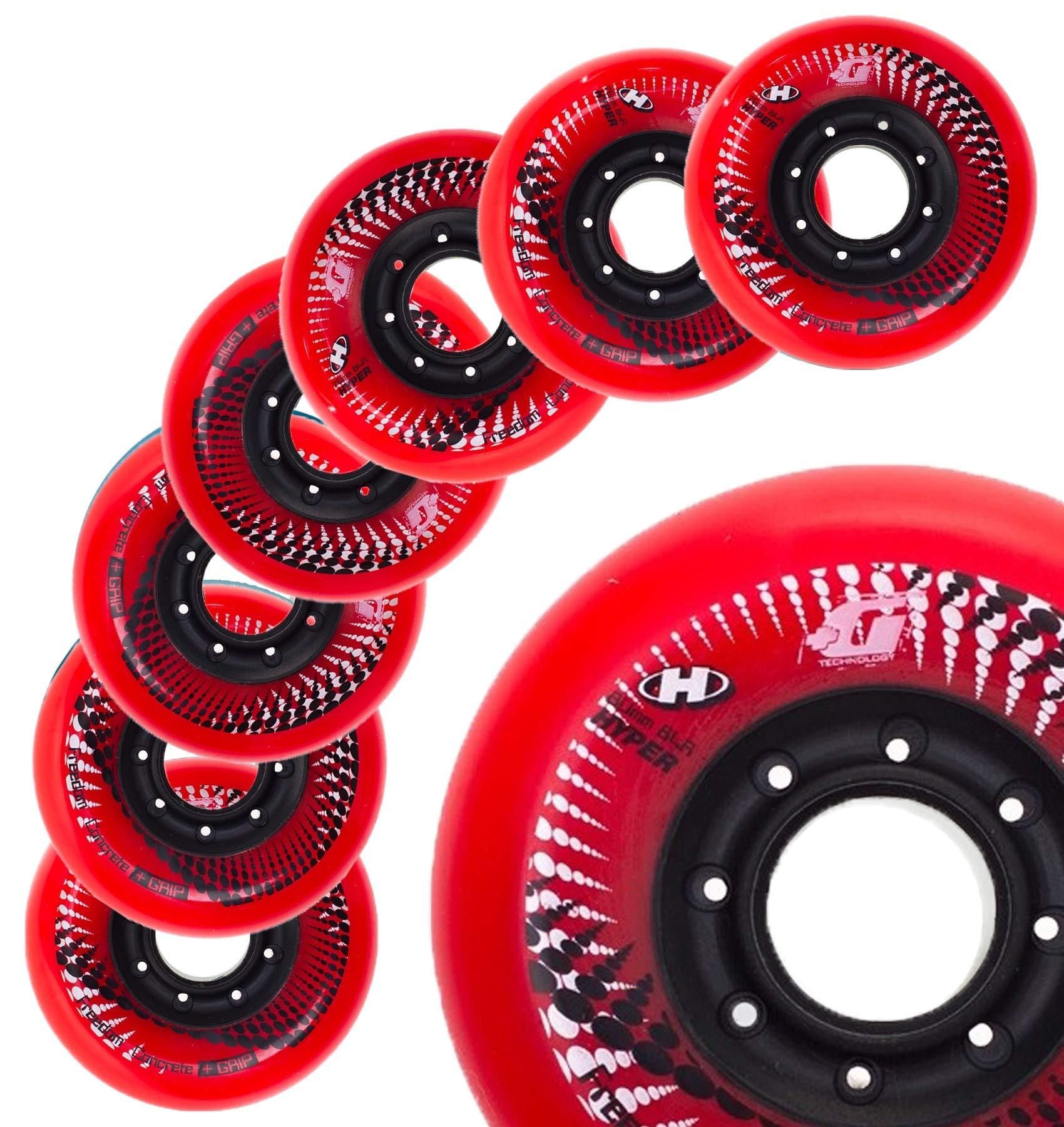 Inline Skate Wheels Hyper Concrete +G - 8 Wheels - 84A - Sizes: 72MM, 76MM, 80MM - Freeride, Slalom, Fitness, Urban - Colors: White, Black, Orange, Green, Cyan, Red (RED, 80MM)