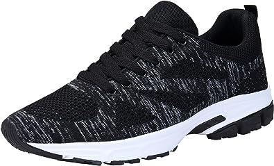 KOUDYEN Unisex Zapatillas Deporte Hombres Mujer Zapatillas Running Sneaker Zapatos para Correr,fz888-black ...