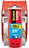 Scotch Heavy Duty Shipping Packaging Clear Tape, Red Dispenser, 1.88 in x 22.2 yd (142)