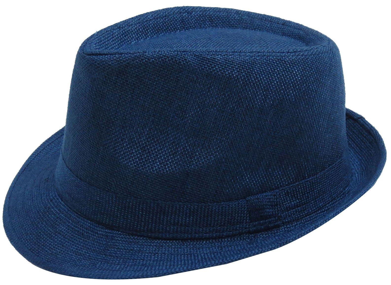 Simplicity Women Men Summer Gangster Trilby Straw Fedora Hat Cap W/Brim, Navy
