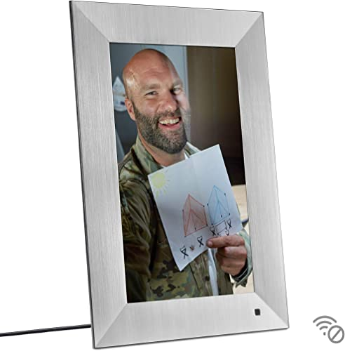 NIX Lux 13 Inch Digital Picture Frame Silver – Full HD IPS Display, Auto-Rotate, Motion Sensor, Remote Control