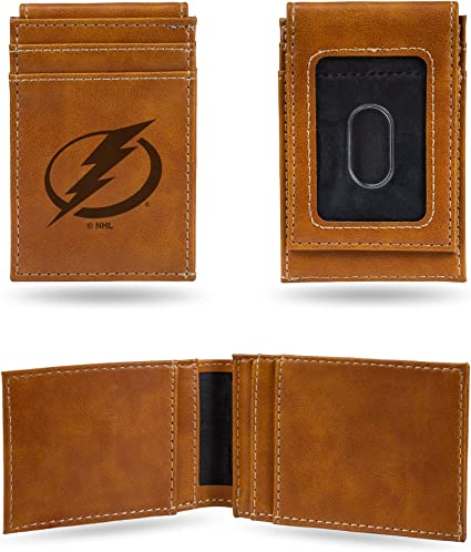 Tampa Bay Lightning NHL Rico Industries  Laser Engraved Trifold Wallet