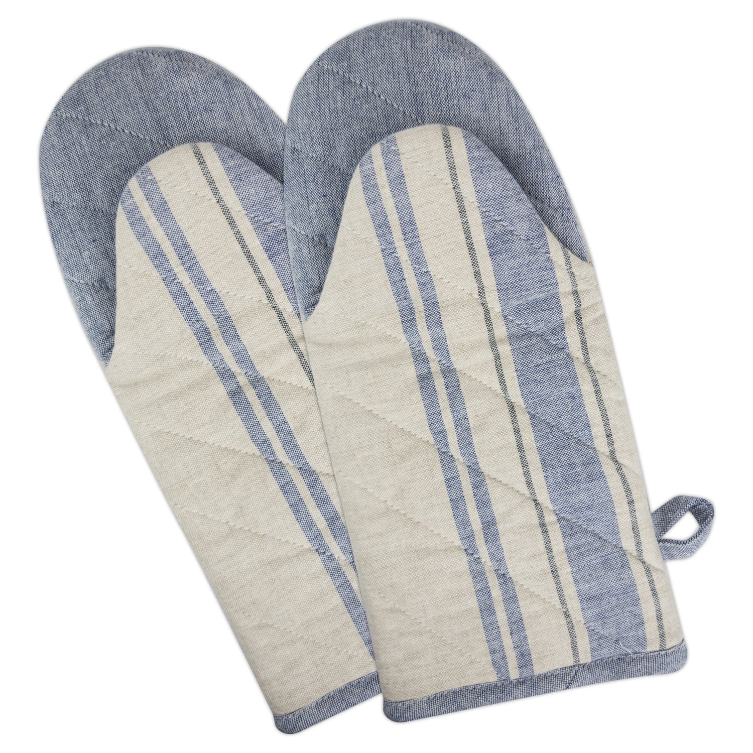 "DII Cotton French Stripe Oven Mitt, 13x6"" Set of 2, Machine Washable and Heat Resistant Country Farmhouse Cooking and Baking Glove-Nautical Blue"