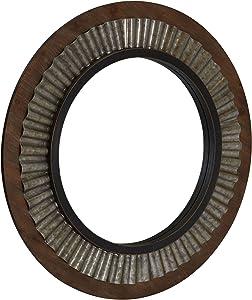 Household Essentials Wood Framed Sunburst Metal Mirror, Brown