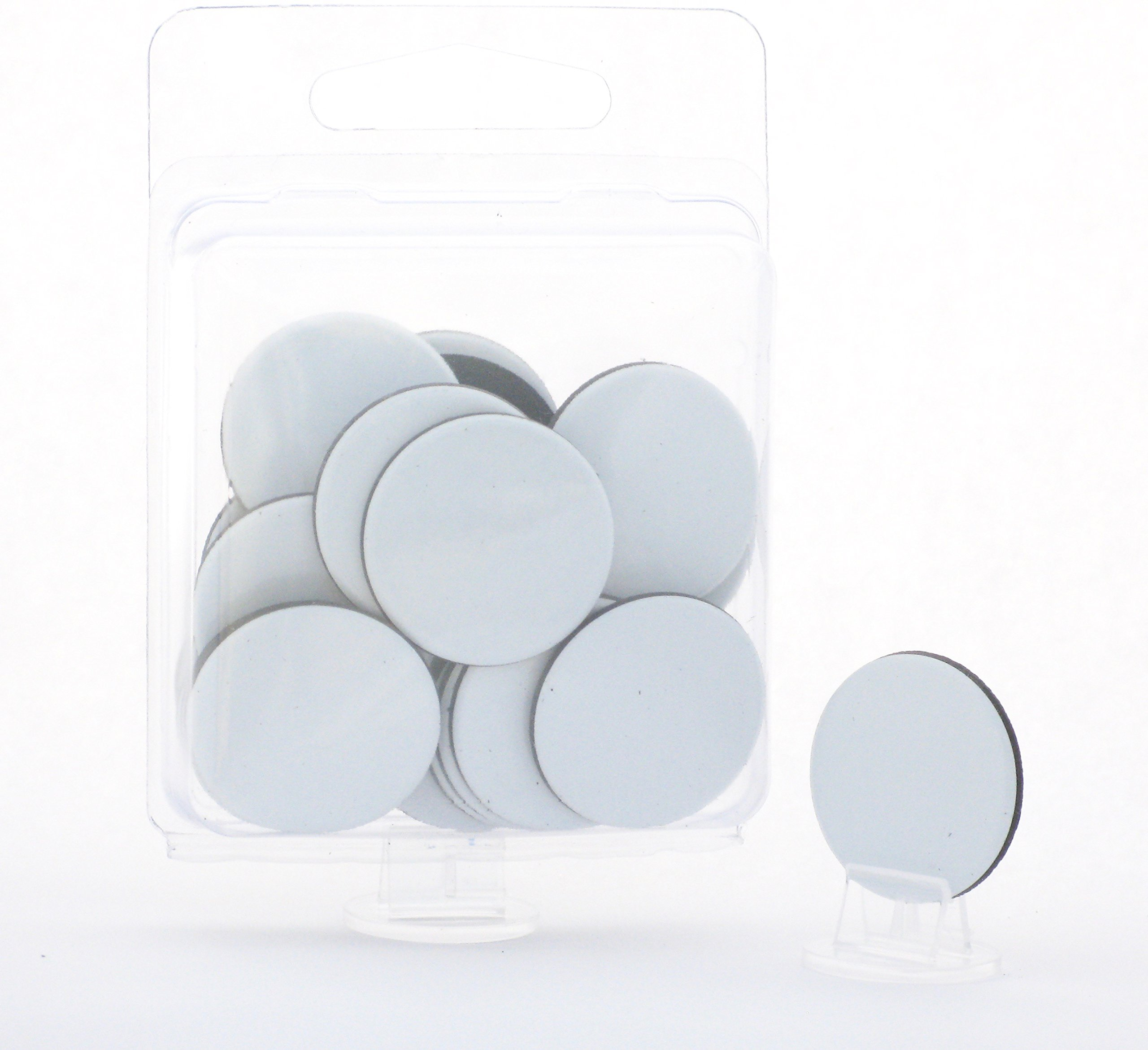 Value Pack of 24 - Dry Erase - Reusable - Blank 1'' Circle Board Game Chits Tiles Counters Markers DIY D&D