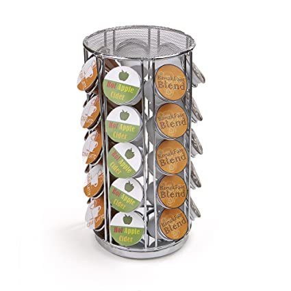 Mind Reader SPINCUP35 SIL Storage Carousel, Holds 35 K Cups, Coffee Pod