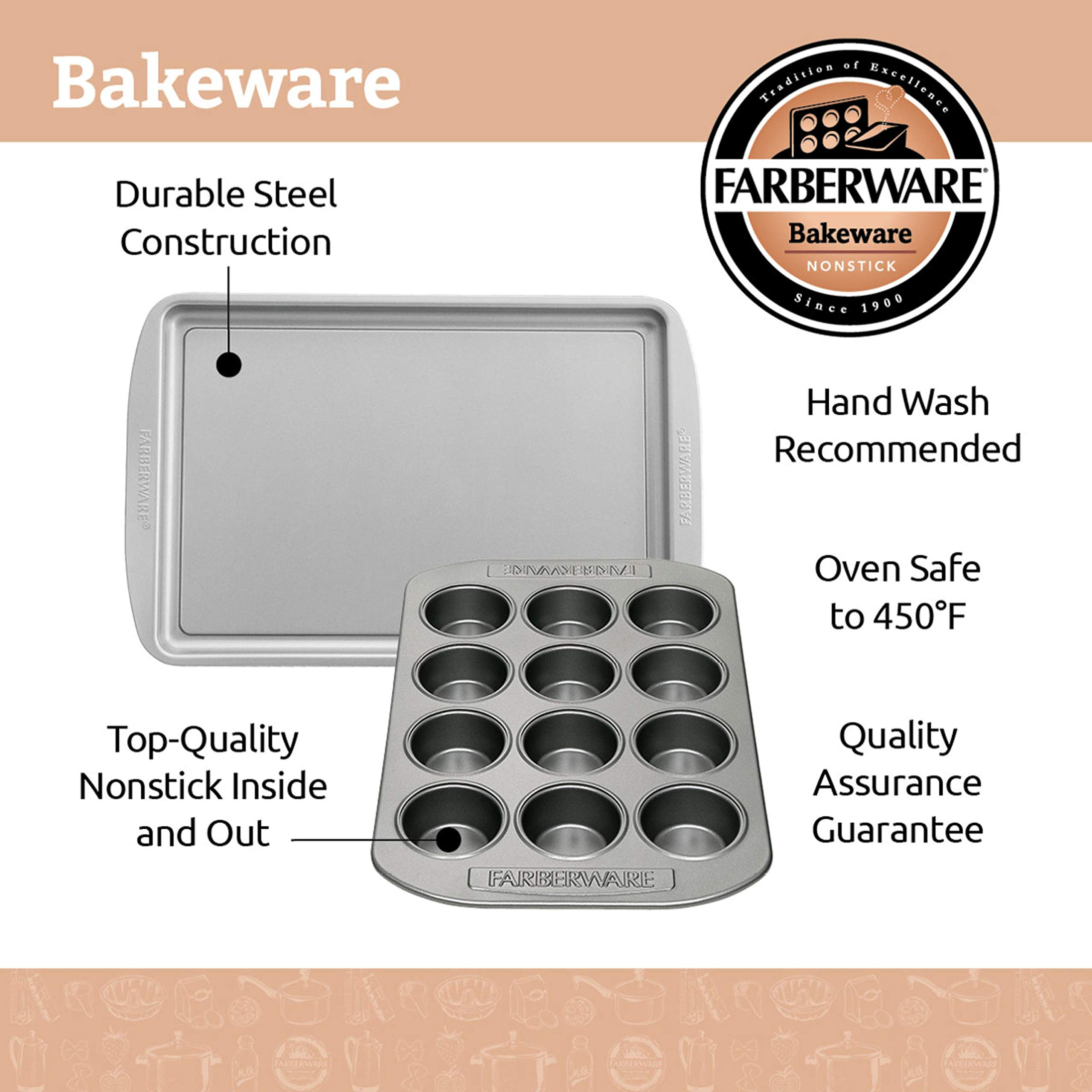 Farberware 47741 2-Piece Bakeware Set Steel Baking Sheet, Gray by Farberware (Image #1)