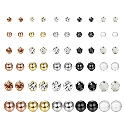 d805fabca FUNRUN JEWELRY 30 Pairs Multiple Stud Earrings for Women Men Pearl Crystal  Ball Piercing Earrings Set: Amazon.ca: Jewelry