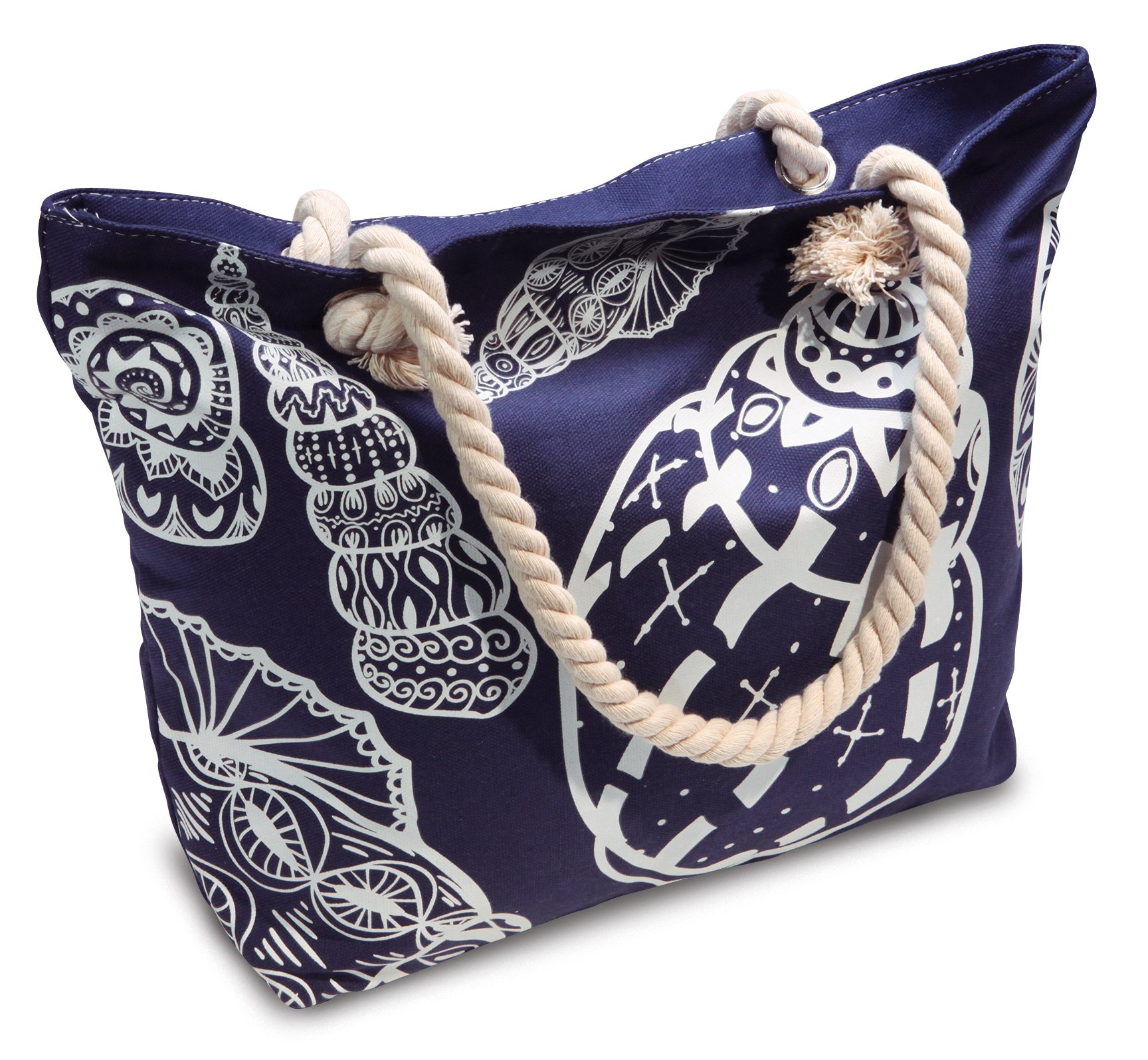 Beach Bag With Inner Zipper Pockets from Moskus Gear - Blue Summer Tote with Seashell Pattern and Rope Handles and Bonus Drybag for Smartphone by Moskus Gear