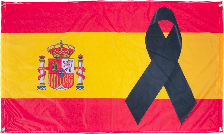 150x90cm Lazo Negro Bandera de Espa/ña con cresp/ón Negro