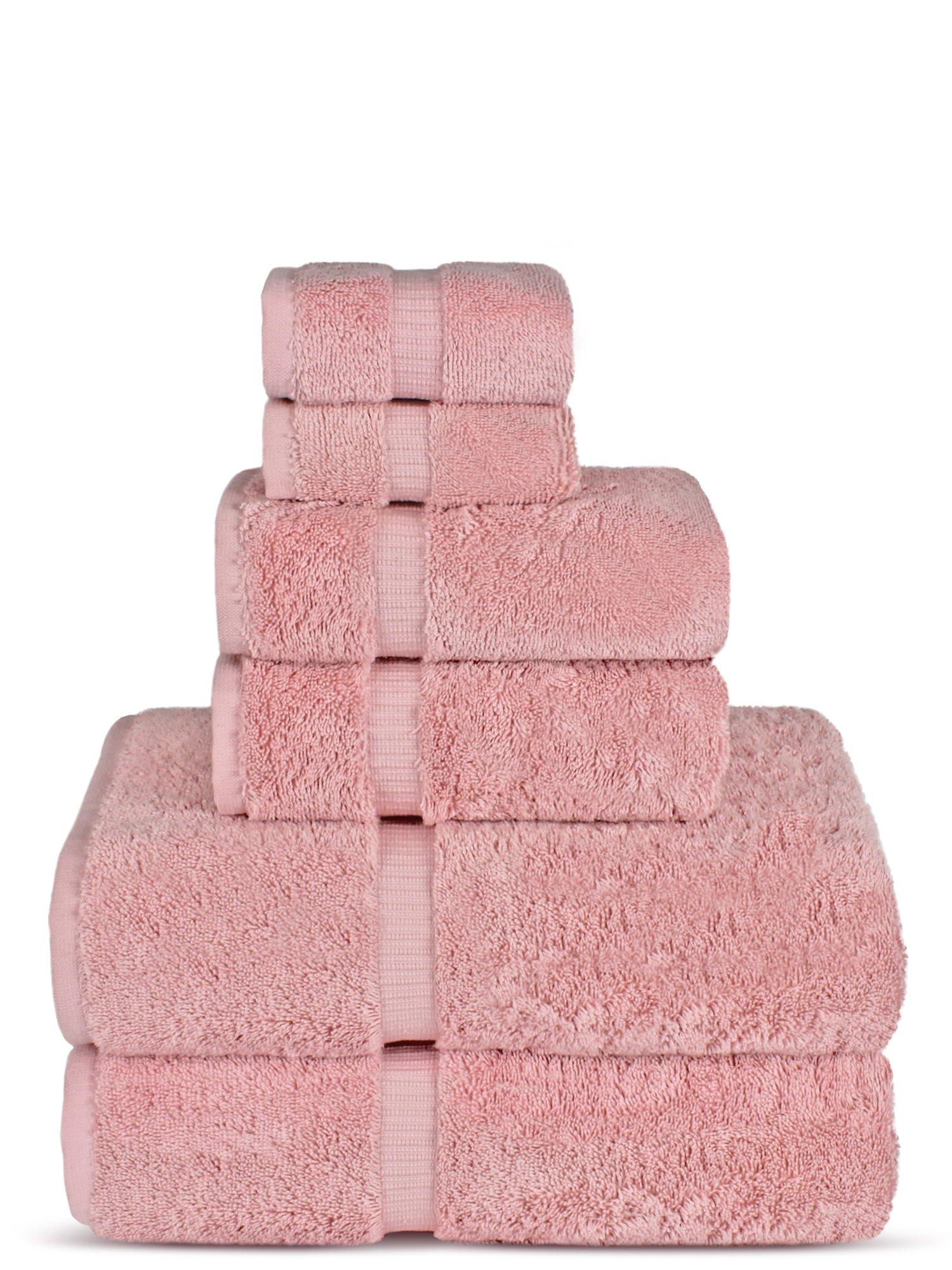 Luxury Spa and Hotel Quality Premium Turkish 6-Piece Towel Set (Pink, 2 x Bath Towels, 2 x Hand Towels, 2 x Washcloths)