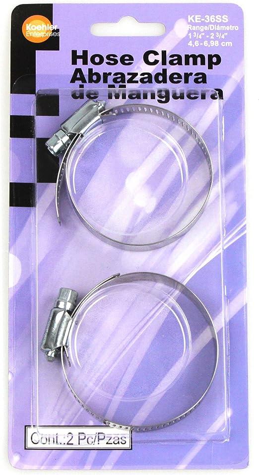2 Piece Size SAE 36 Koehler Enterprises KE36SS Hose Clamp Blister Pack