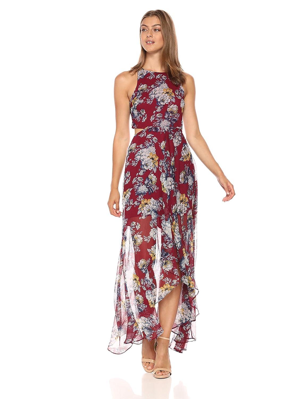 pink Floral Ali & Jay Women's Bohemian Rhapsody Floral Printed CutOut HiLo Maxi Dress