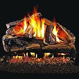 Peterson Real Fyre 24-inch Rugged Split Oak Gas Log Set With Vented Natural Gas Ansi Certified G46 Burner - Variable Flame Remote