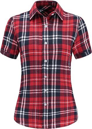 Dioufond Camisas Mujer Cuadros Manga Corta Camisas Mujer de Vestir Fiesta Atractivo(Rojo S: Amazon.es: Ropa y accesorios