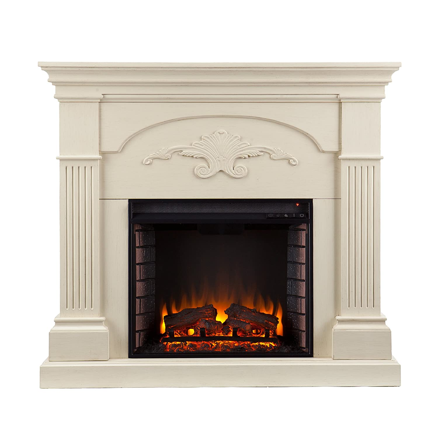 Southern Enterprises Sicilian Harvest Electric Mantel Fireplace -Radiant Heat Space Heater – Ivory Finish