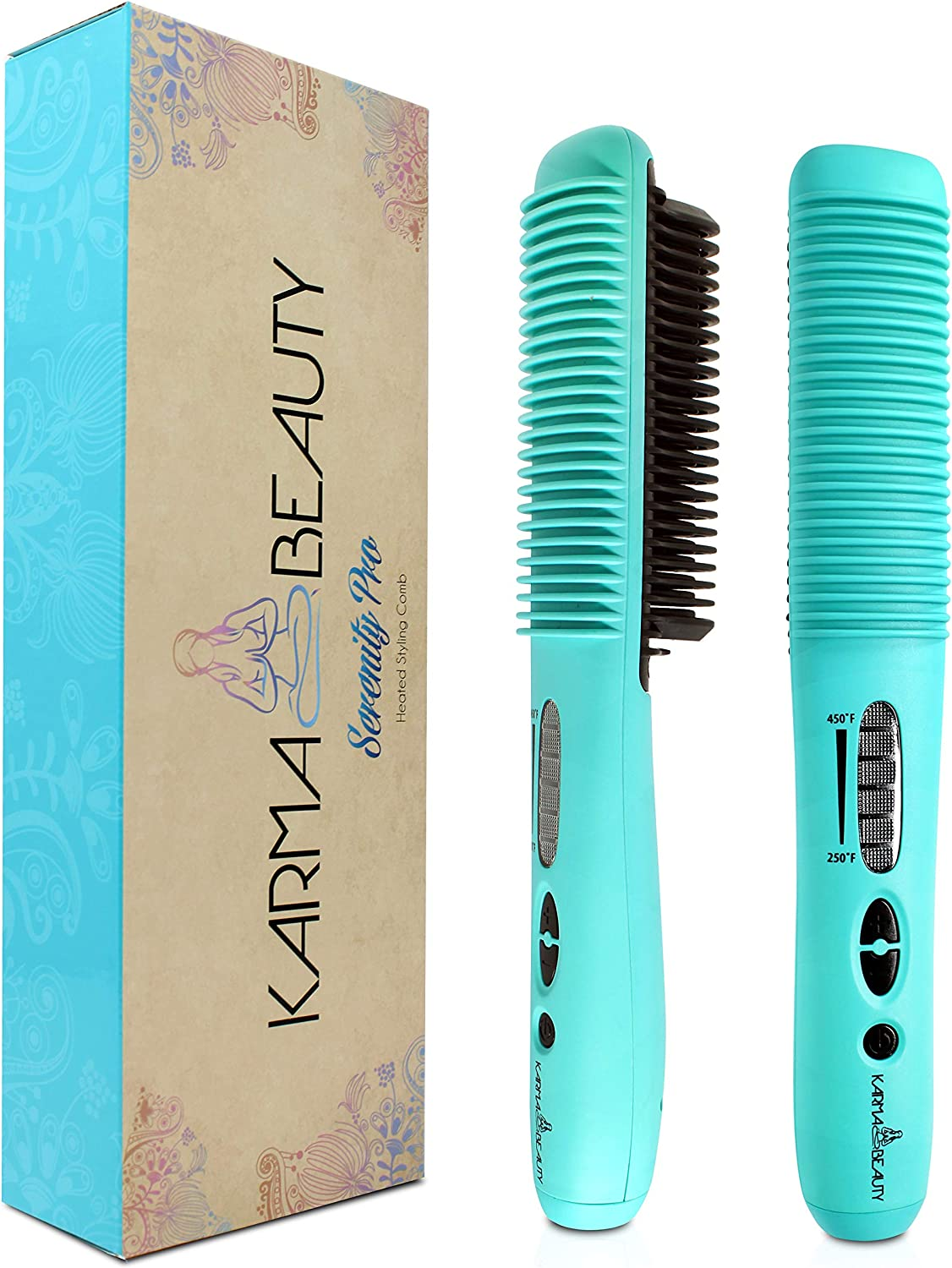 Straightening Comb Anti – Scald   Hot Comb PTC Ceramic Heating   Great for African American Hair & Wigs   Auto Shut Off   Create Straight & Curl   Karma Beauty  