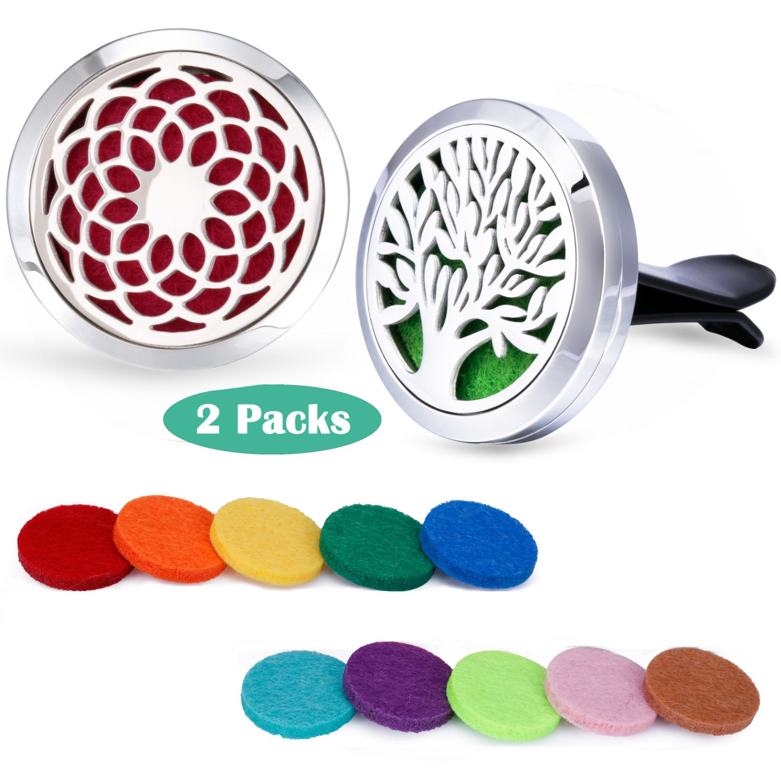 Car Fragrance Essential Oil Prume Diffuser Vent Clip Tree of Life & Sunflower Set