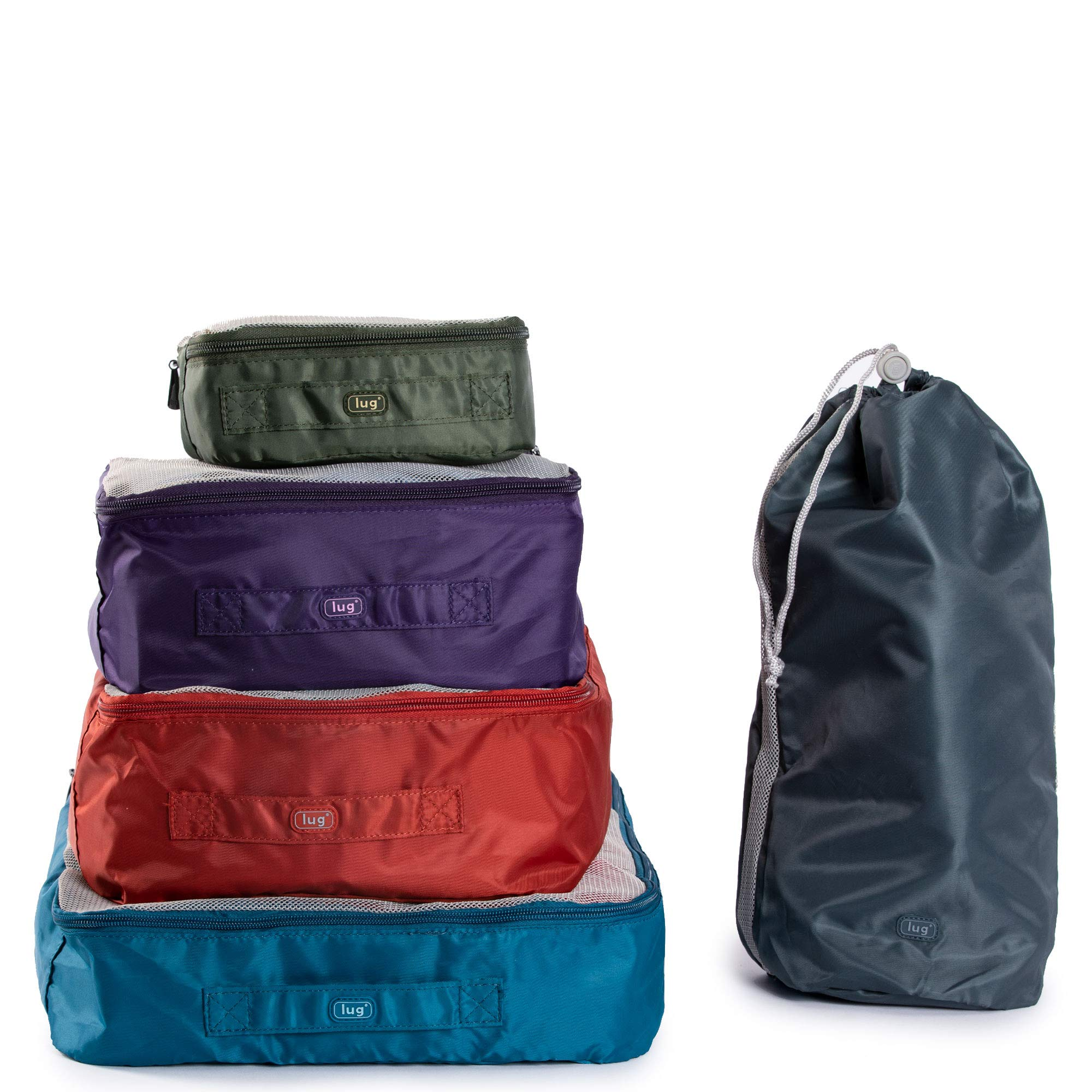 Lug Cargo 5-Piece Packing Kit, Ocean Blue/Plum Purple/Sunset Orange/Grass Green/Grey, One Size by Lug