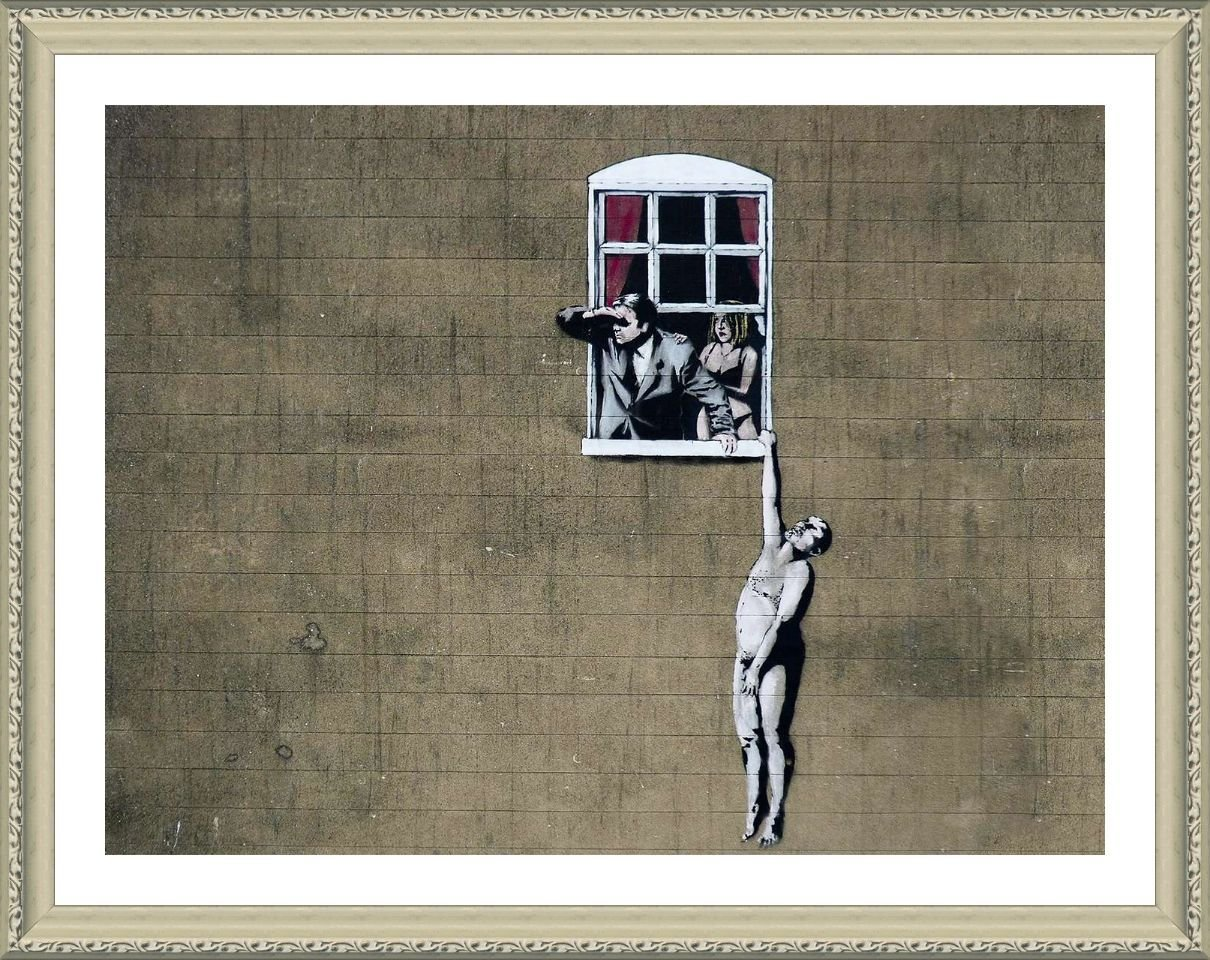 Alonline Art - Naked Man Hanging from Window Banksy Biege Framed Poster (Print on 100% Cotton Canvas on Foam Board) - Ready to Hang | 31''x24'' | Frame Framed Paints Oil Painting Print for Bedroom