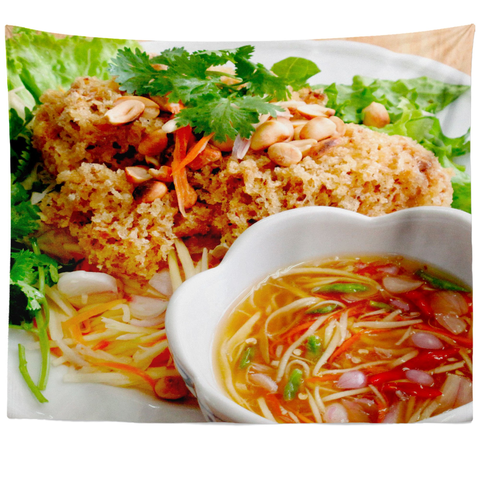 Westlake Art - Food Thai - Wall Hanging Tapestry - Picture Photography Artwork Home Decor Living Room - 68x80 Inch (AC795)