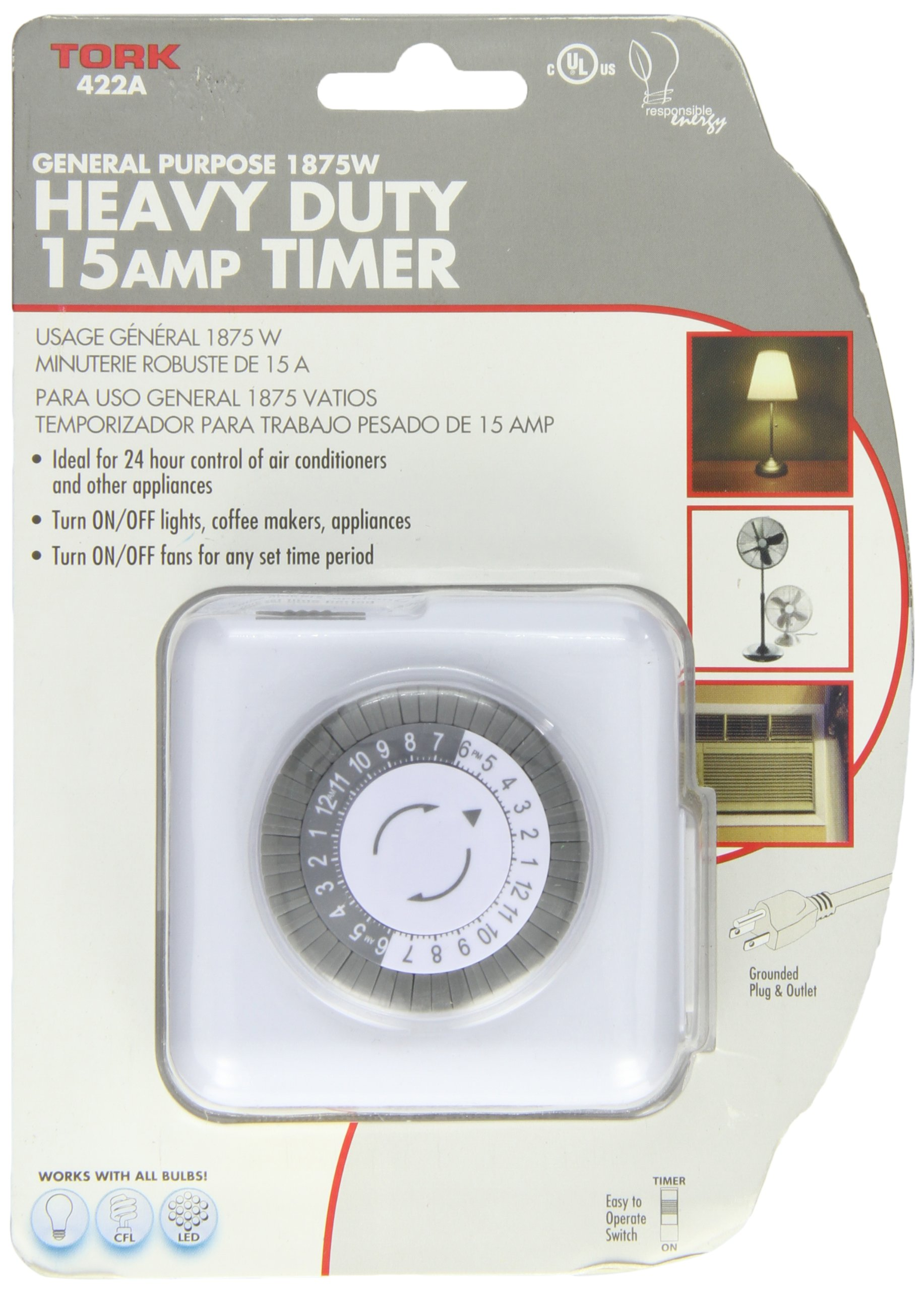 400A Series Indoor General Purpose Mechanical Heavy Duty 24 hour Timer, Grounded Plug, 15 Amp Current, 30 Minutes