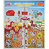 Farm Animals (by Incredible Gel and Window Clings) Reusable Puffy Stickers for Kids and Toddler Rooms, Windows, Walls, Bedrooms, Plane Travel - Horses, Ducks, Chickens, Cat, Bunny, Pig and More