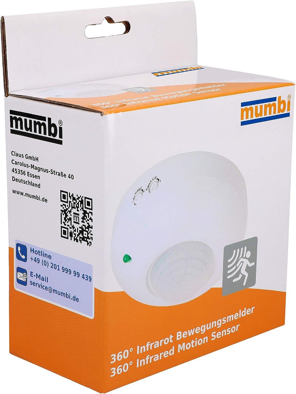 Mumbi 13033 D/étecteur de mouvement IP20 Blanc