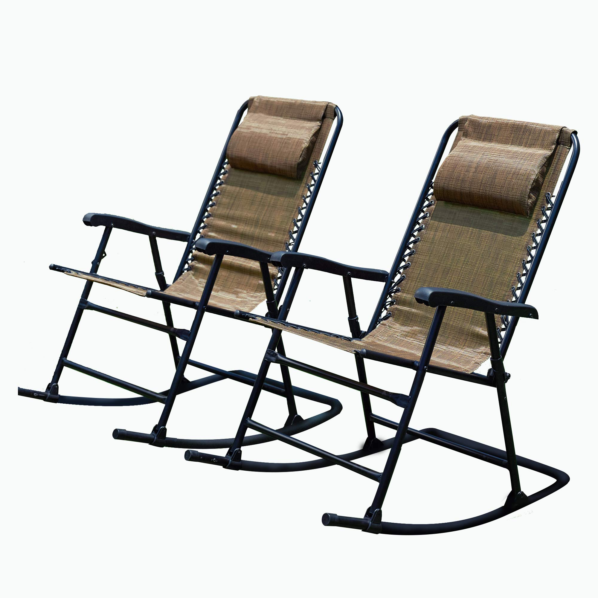 LOKATSE HOME Outdoor Patio Folding Zero Gravity Rocking Chair Set with 2 Portable Camping Recliners, Brown