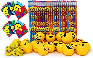 Emoji Party Favors Set for Kids - 24 Pcs of Each - Pencils, Sharpener, Notebook, Erasers - Bulk Prizes Pack for Birthday Parties and Goody Bag Fillers, By 4E's Novelty